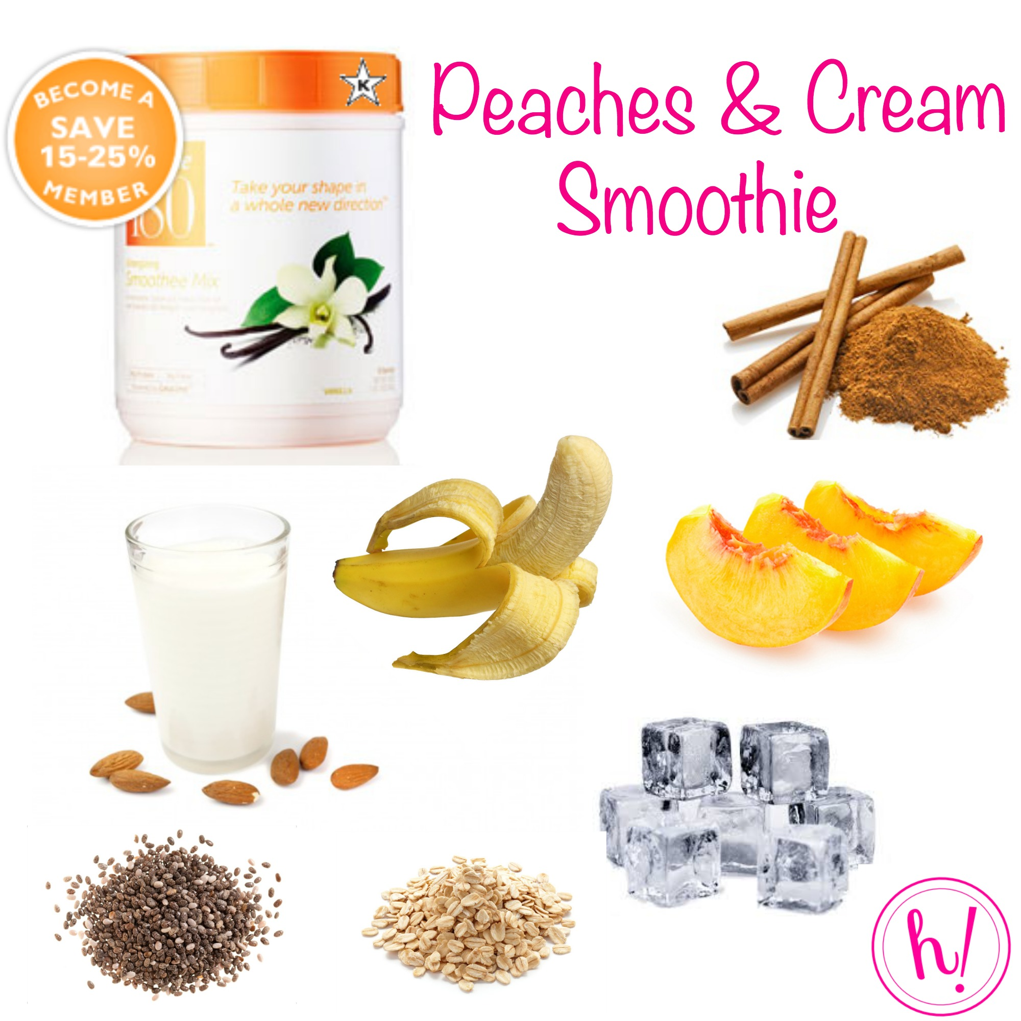 Peaches and Cream smoothie recipe from Hurray Kimmay