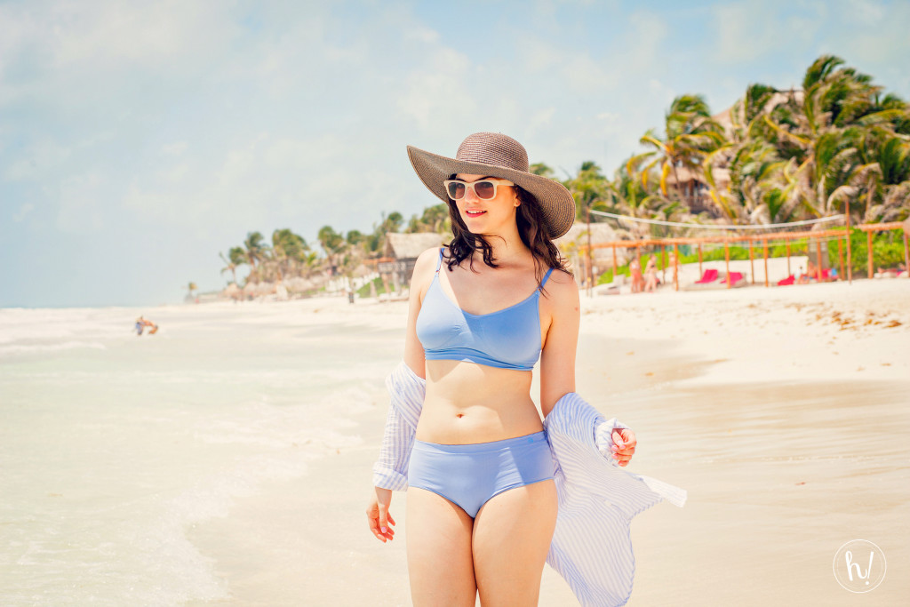 Kimmay wearing wire-free Miel bra in Tulum, Hurray Kimmay blog