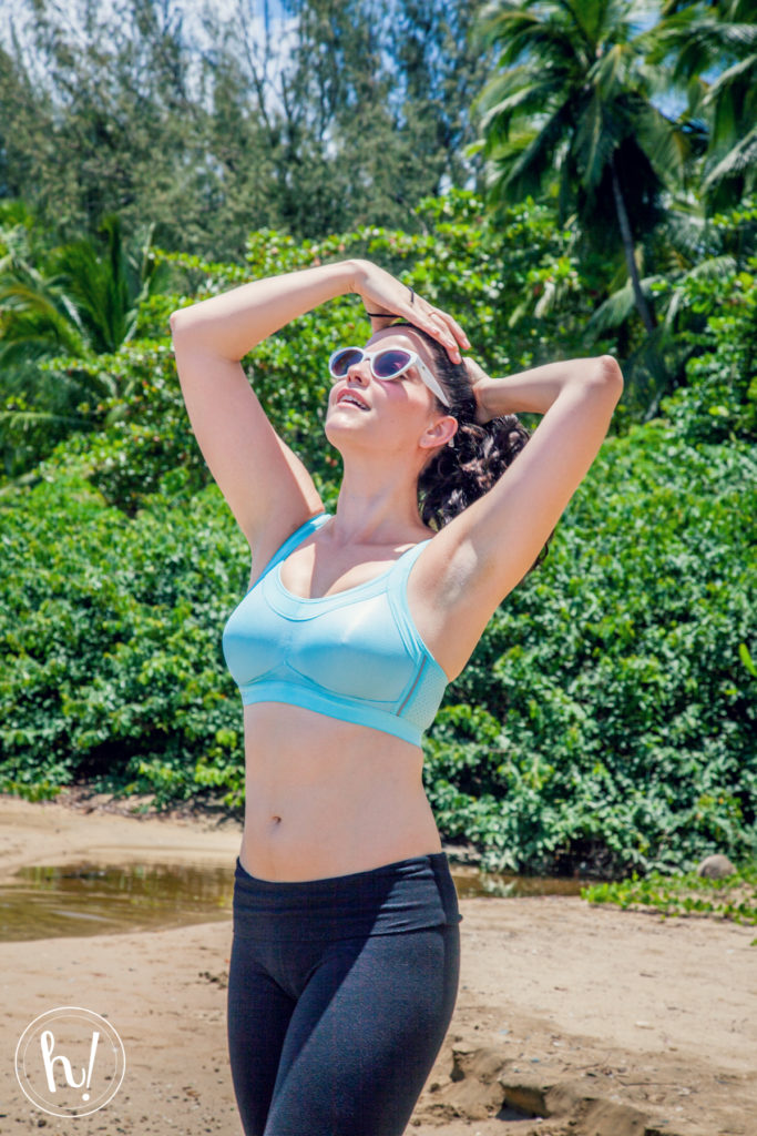 Kimmay wears Anita aqua sports bra in Puerto Rico, Hurray Kimmay blog
