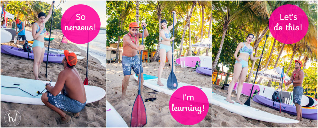 Kimmay learning to paddle board on Outside your comfort zone Hurray Kimmay blog