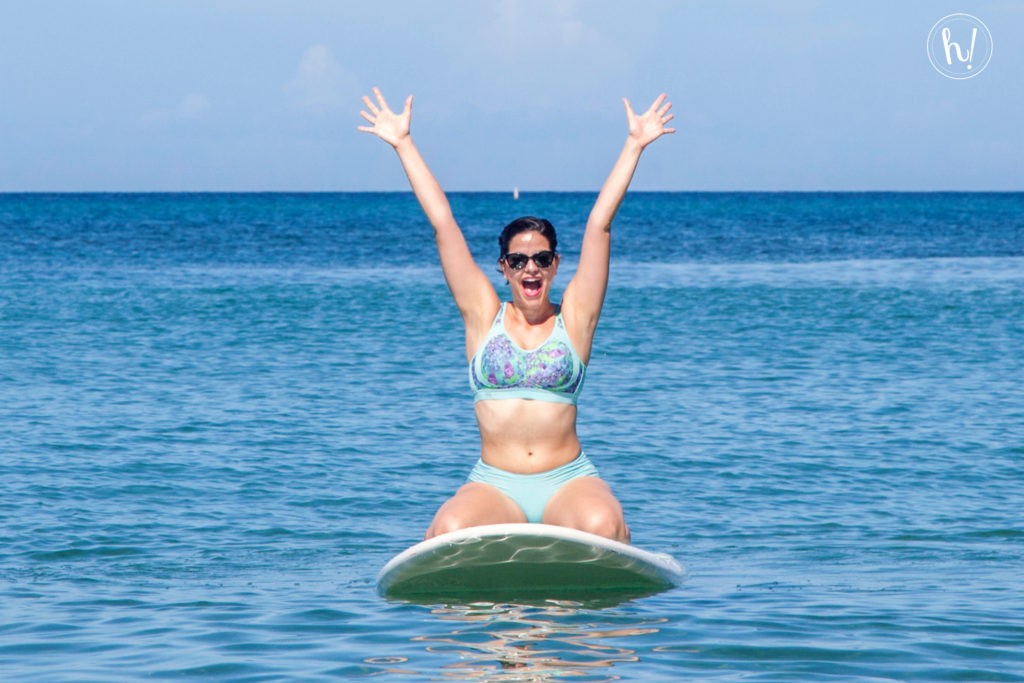 Kimmay on paddle board wearing Anita Sports Bra-Hurray Kimmay blog
