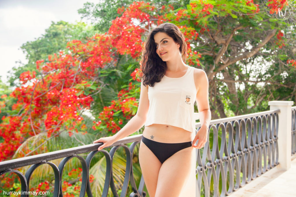 Kimmay wearing black thong from peach in pros and cons of thongs blog