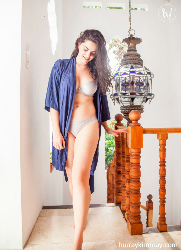 Kimmay in peach robe and bra/thong set in pros and cons of thongs blog post