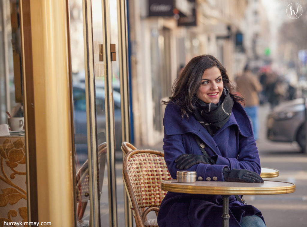 Kimmay at a Paris cafe -Date Yourself blog Hurray Kimmay