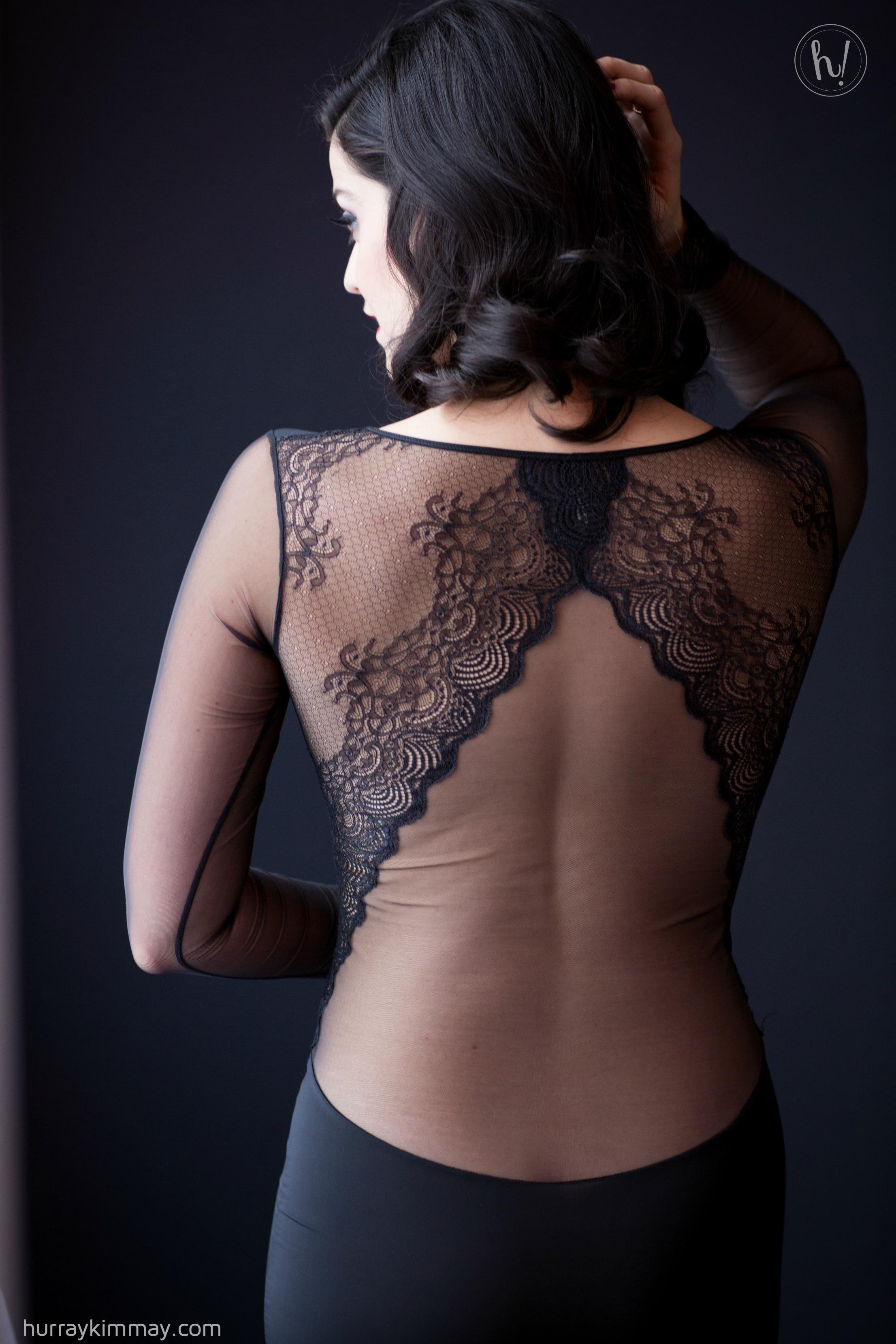 Kimmay wearing sexy Maison Close sheer lace back dress
