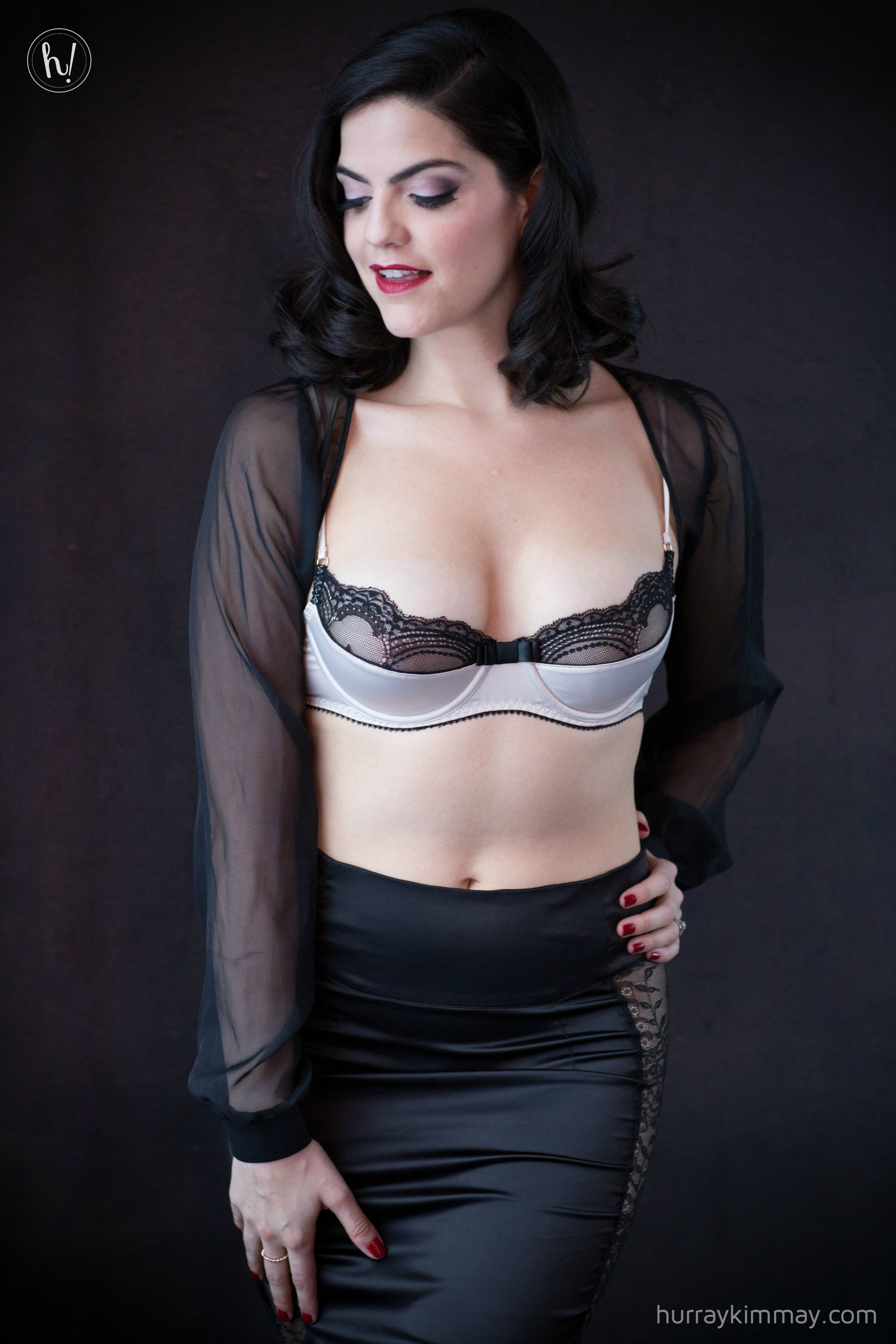 Kimmay wearing Maison Close quarter bra bolero and slip