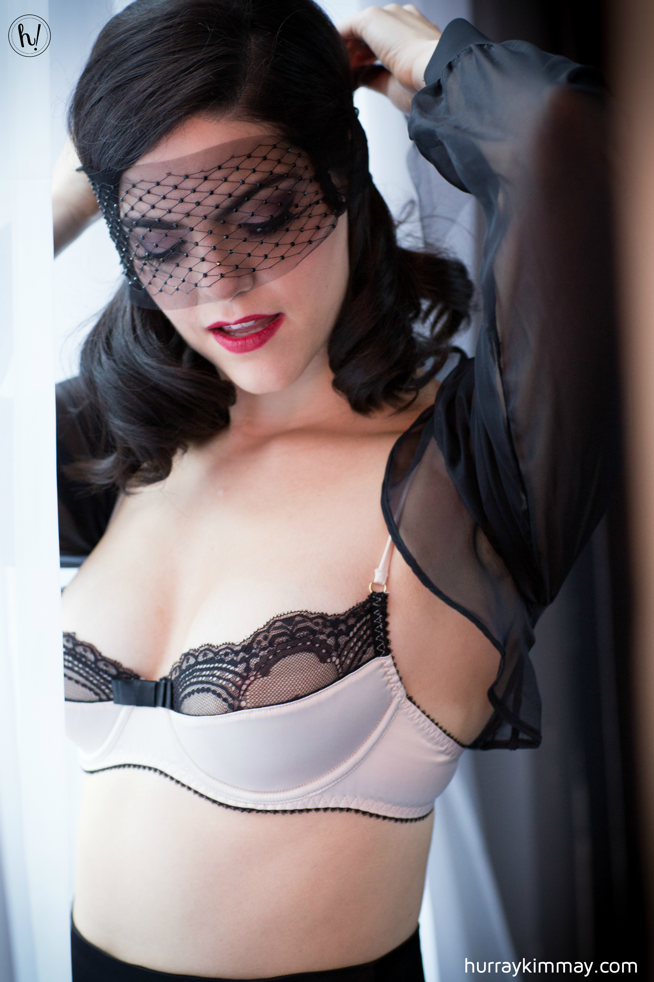 Kimmay wearing Maison Close veil and quarter bra bolero