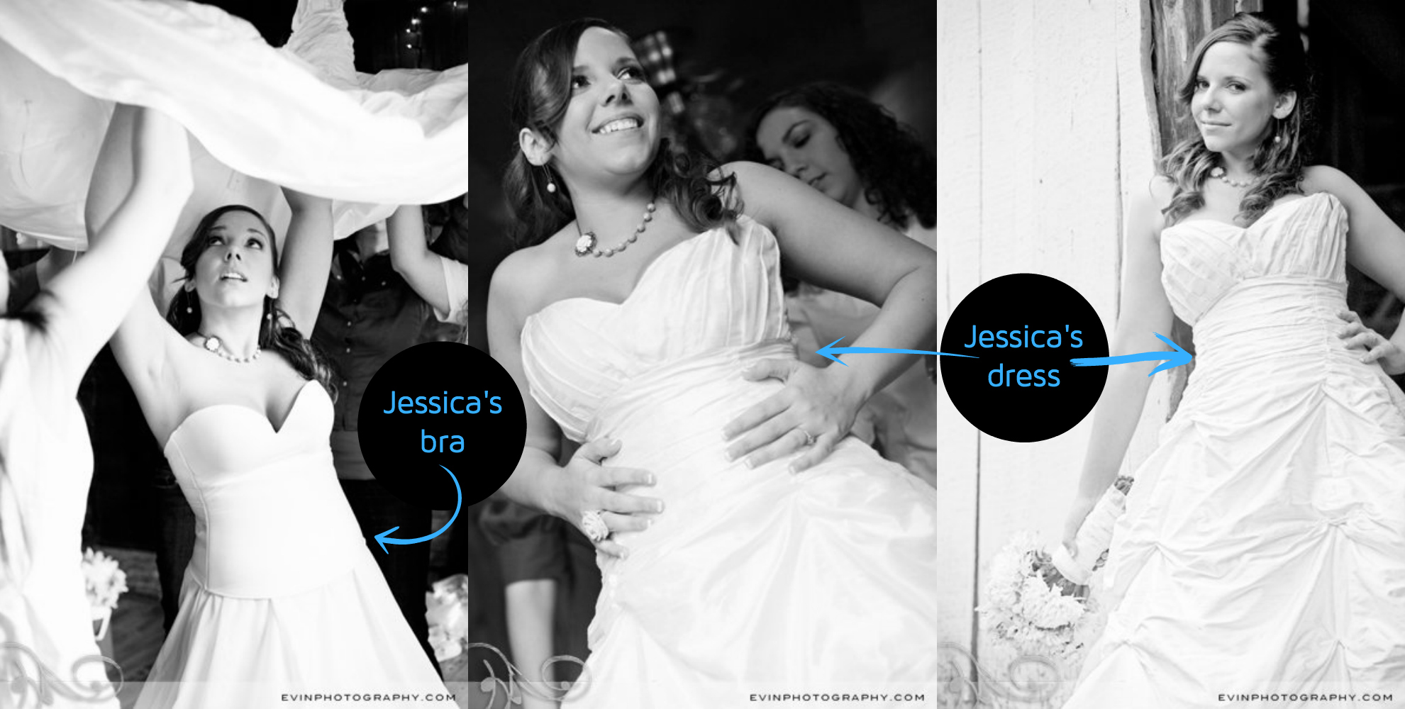 Jessica's longline bra and sweetheart wedding gown