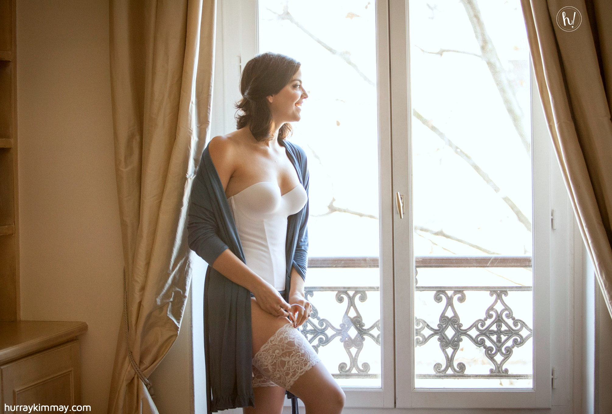 Kimmay wearing longline bra with thigh highs in Paris on Hurray Kimmay Blog