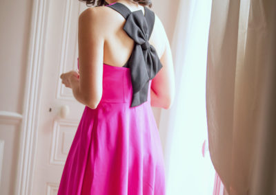 Kimmay in pink bow back dress in paris morning routine HK blog