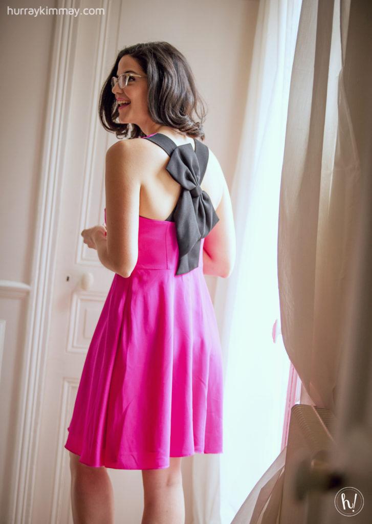 Kimmay in letote pink dress in paris, morning routine HK blog