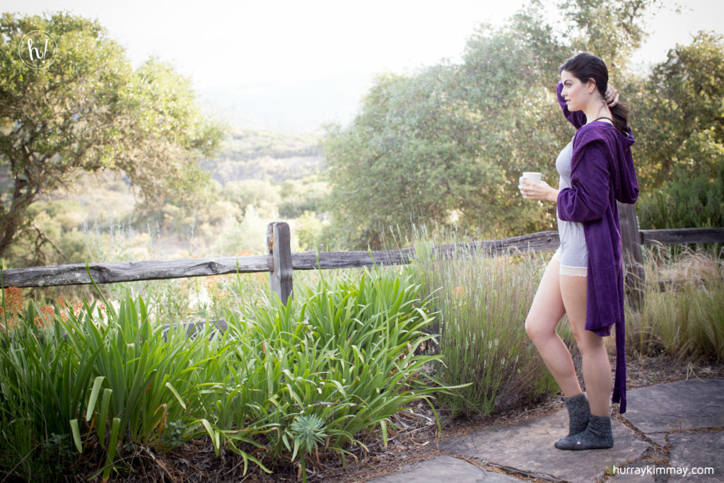 Kimmay wears blush robe and romper in Mayacamas Ranch.