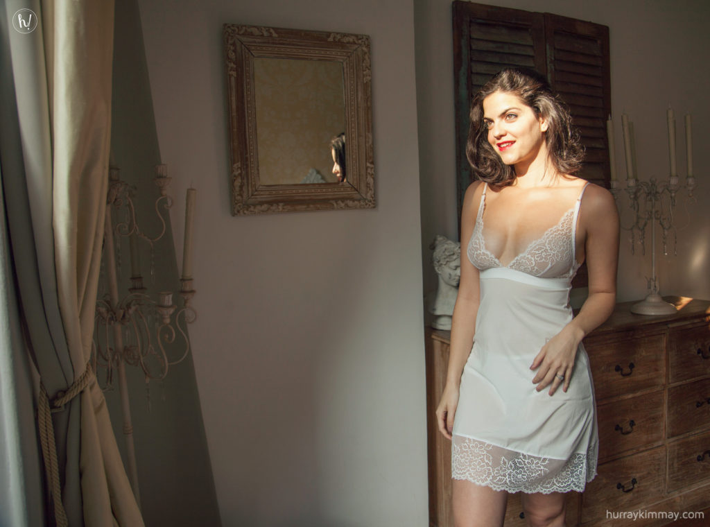 Wedding myths on the Hurray Kimmay blog, Kimmay wearing Addction Chemise