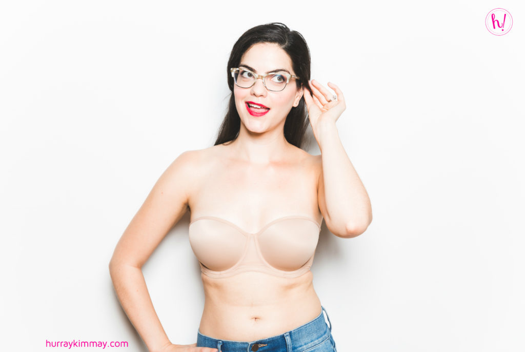 Kimmay wearing Le Mystere strapless bra