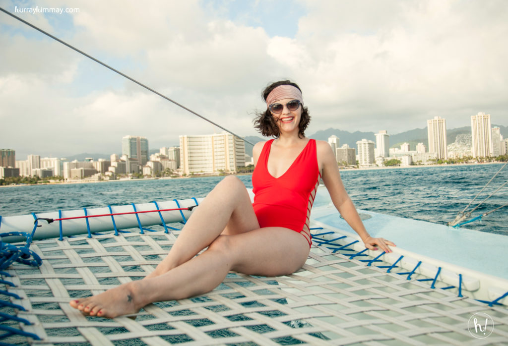 Kimmay wear Mia Marcelle swimsuit in How to Start Investing in Yourself on the Hurray Kimay blog.