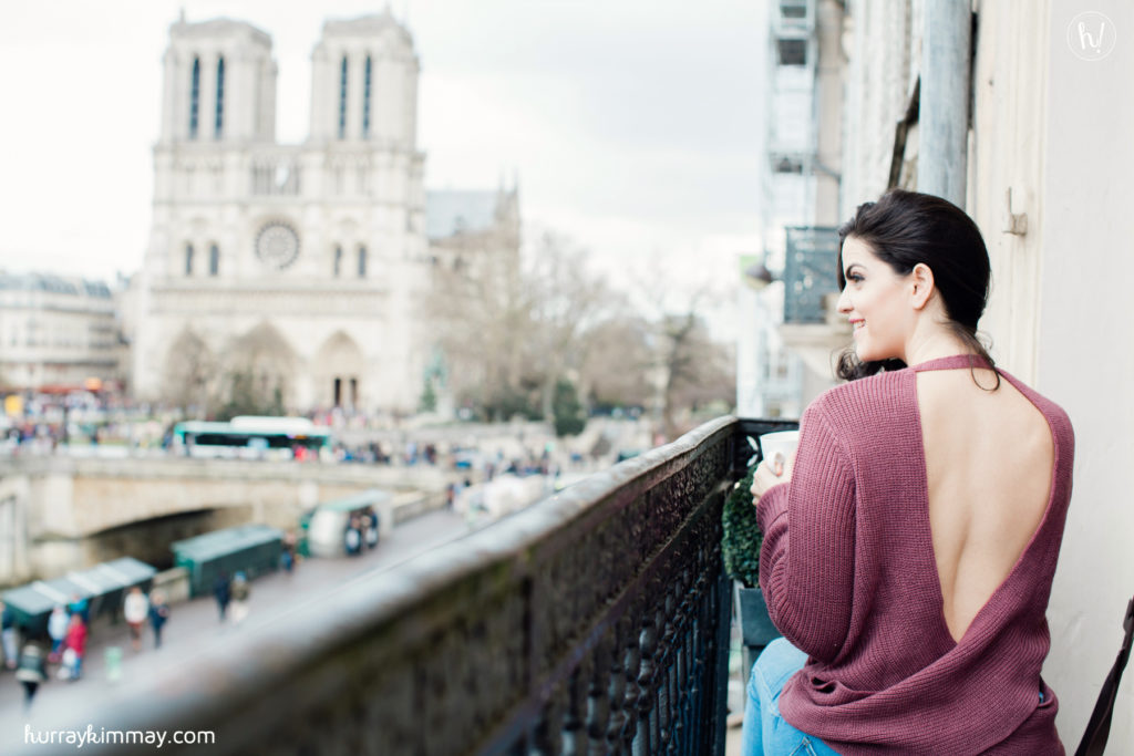 Kimmay in Paris wearing Tobi in Cobblestone Apartments
