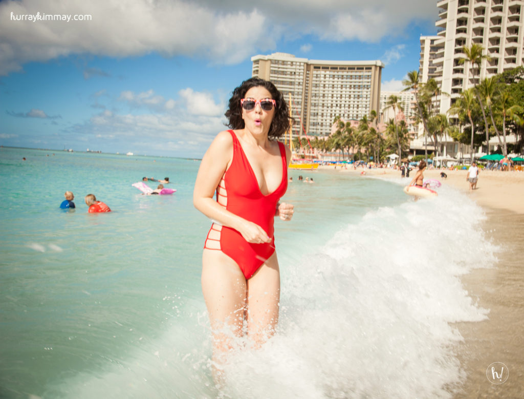 Kimmay wearing Mia Marcelle Swimsuit on the Hurray Vacay in Hawaii