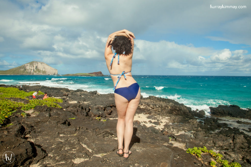 Kimmay dances on the Hurray Vacay in Hawaii wearing swimwear from Mia Marcelle