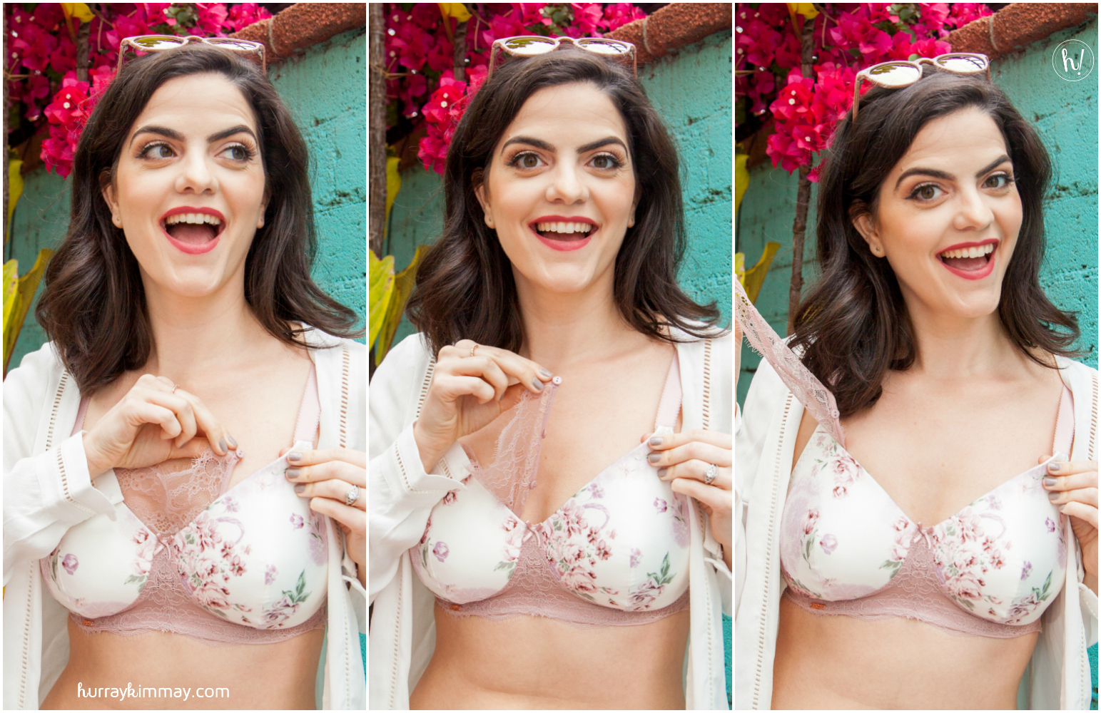 Find many unique styles of wire-free bras in the new Hurray Kimmay blog. Here Kimmay wears the Royce English Rose bra.