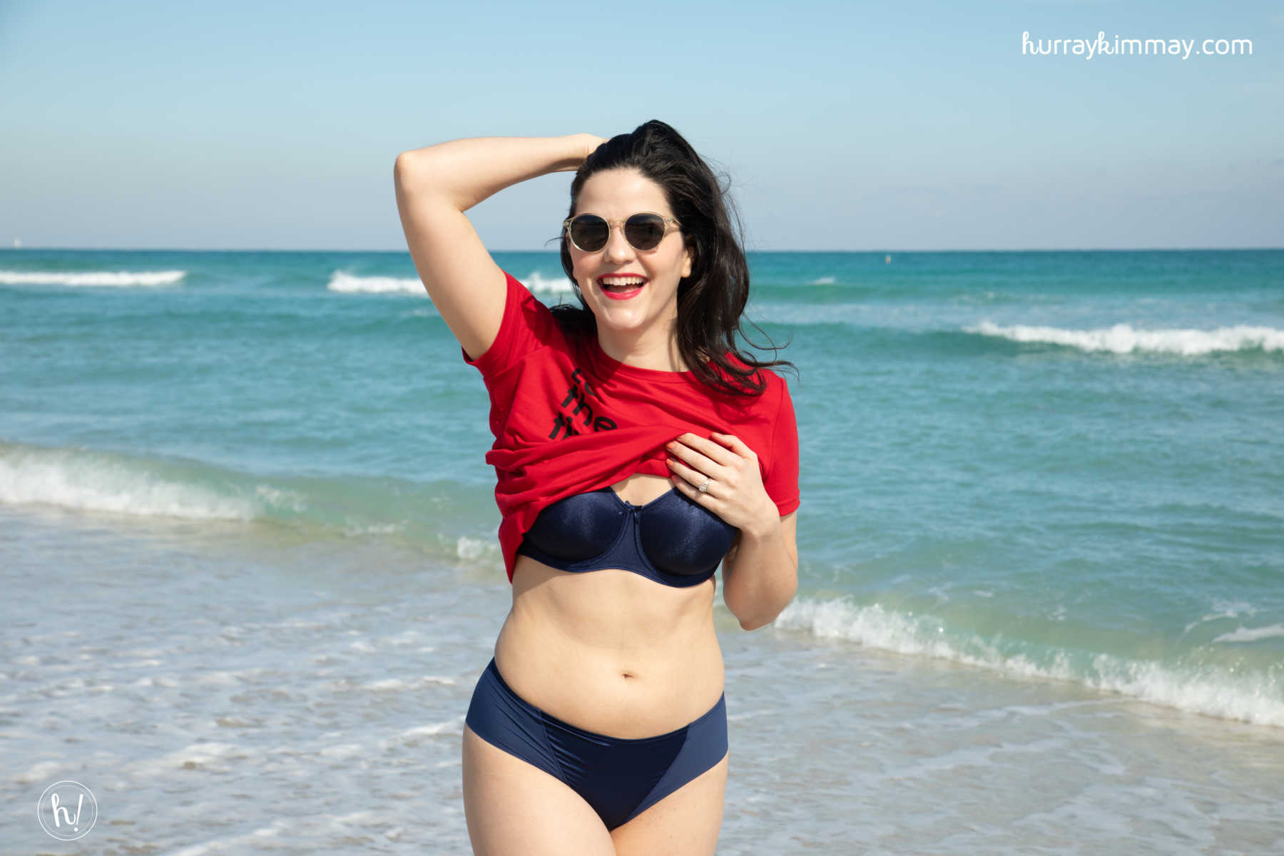 Kimmay enjoying the waves wearing the Mystique Underwire Bra from Dominique during the #HurrayVacay in Miami!