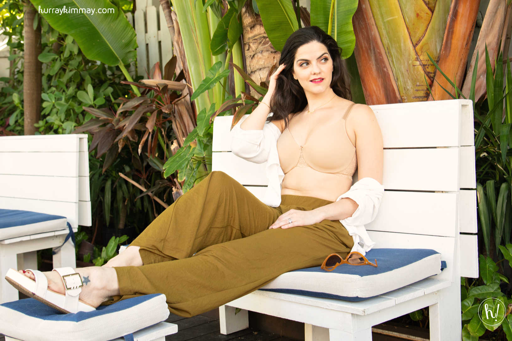 Kimmay relaxing during the Hurray Vacay in Miami wearing the Lena Minimizer from Dominique