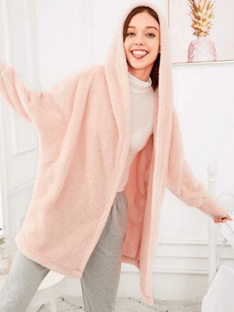This hooded robe from Shein is wonderful for a movie night in, or Kimmay shares with you how to dress it up to wear out & about on the Hurray Kimmay blog.